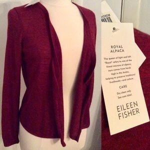 NWT Eileen Fisher Royal Alpaca Crimson Cardigan PM